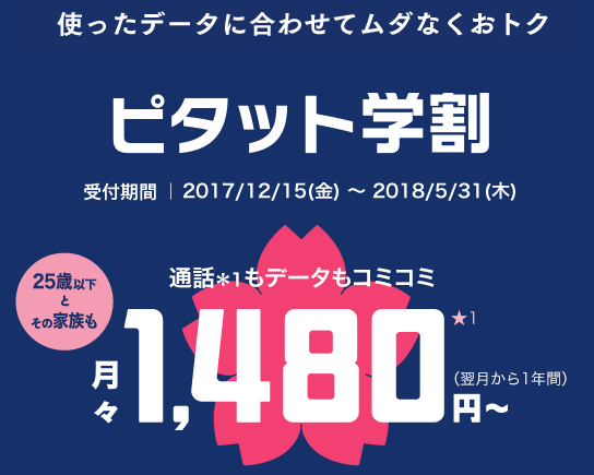 auの2018年スマホ学割
