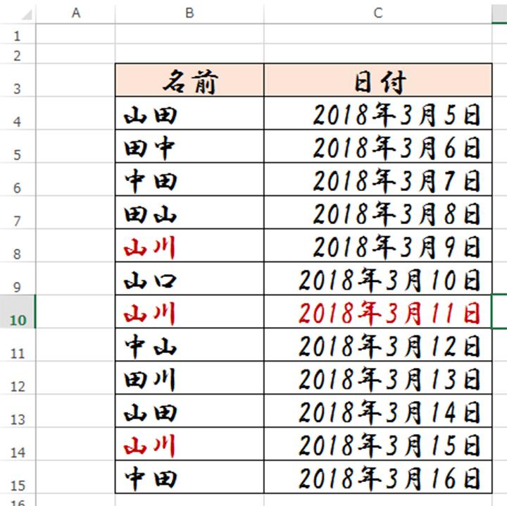 日曜日の文字色を赤くする条件付き書式の完成