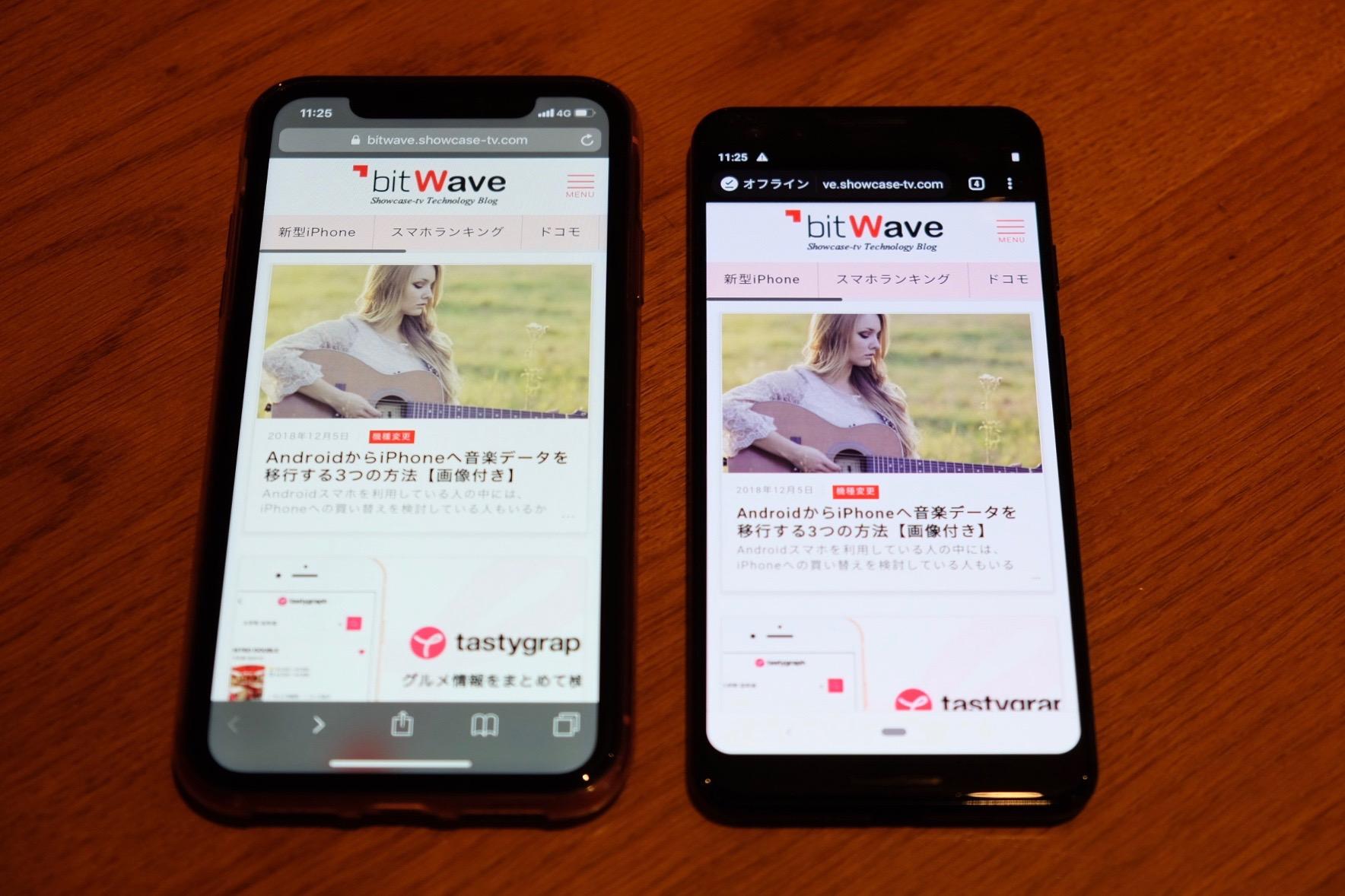 Pixel3とiPhone XR