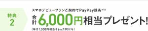 PayPay残高6,000円プレゼント