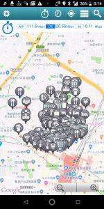 Wi-Fiチェッカーの地図画面