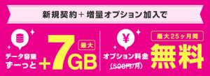 データ容量最大+7GB!2年間無料キャンペーン