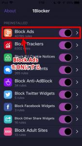 Block AdsをONにする
