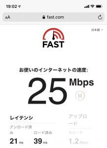 よくばりWiFi 新宿駅から少し離れた場所での測定結果