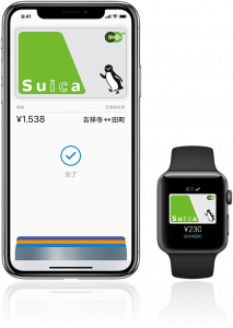 iPhoneとApple WatchにSuicaを登録した画像