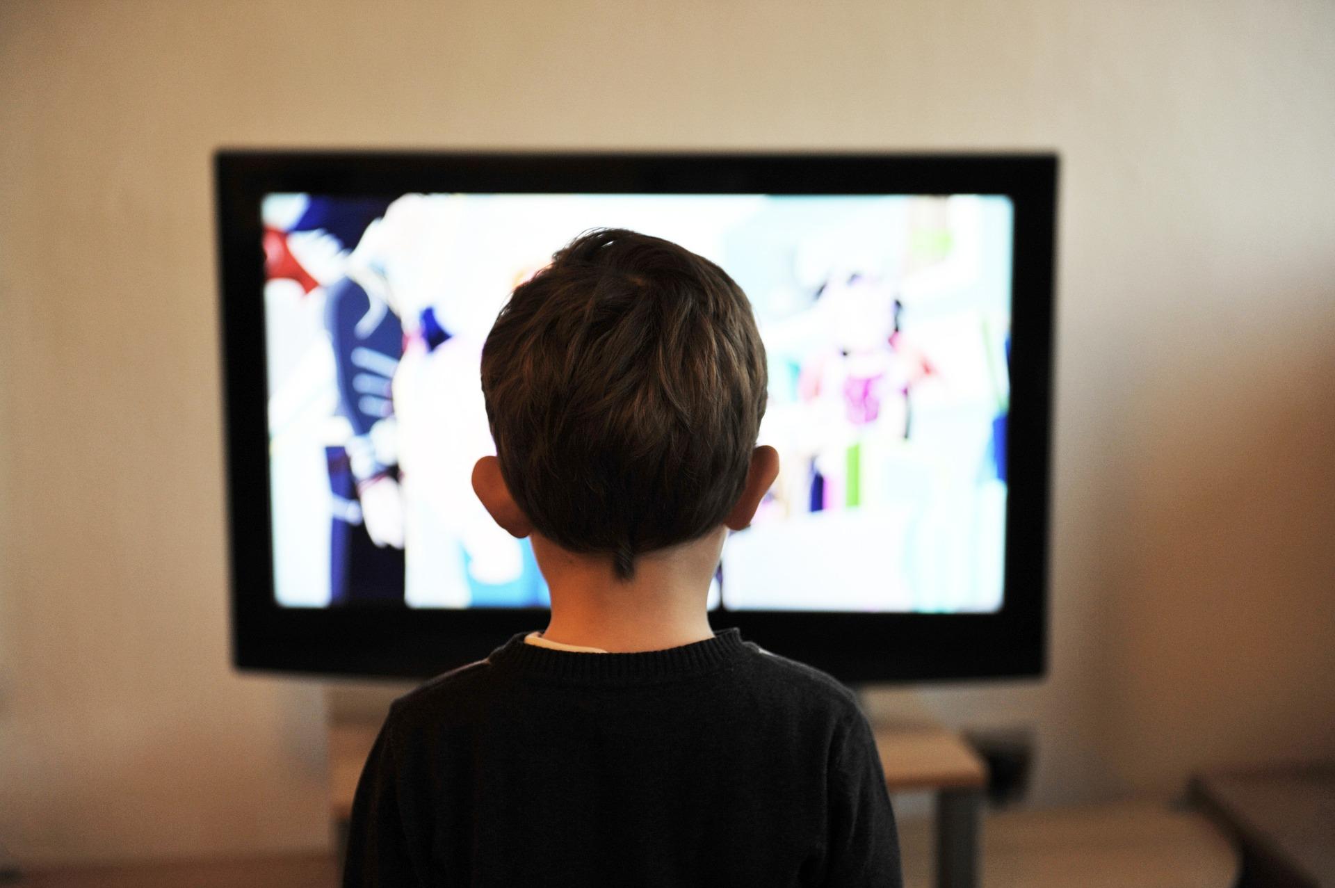 子供がテレビを見ている