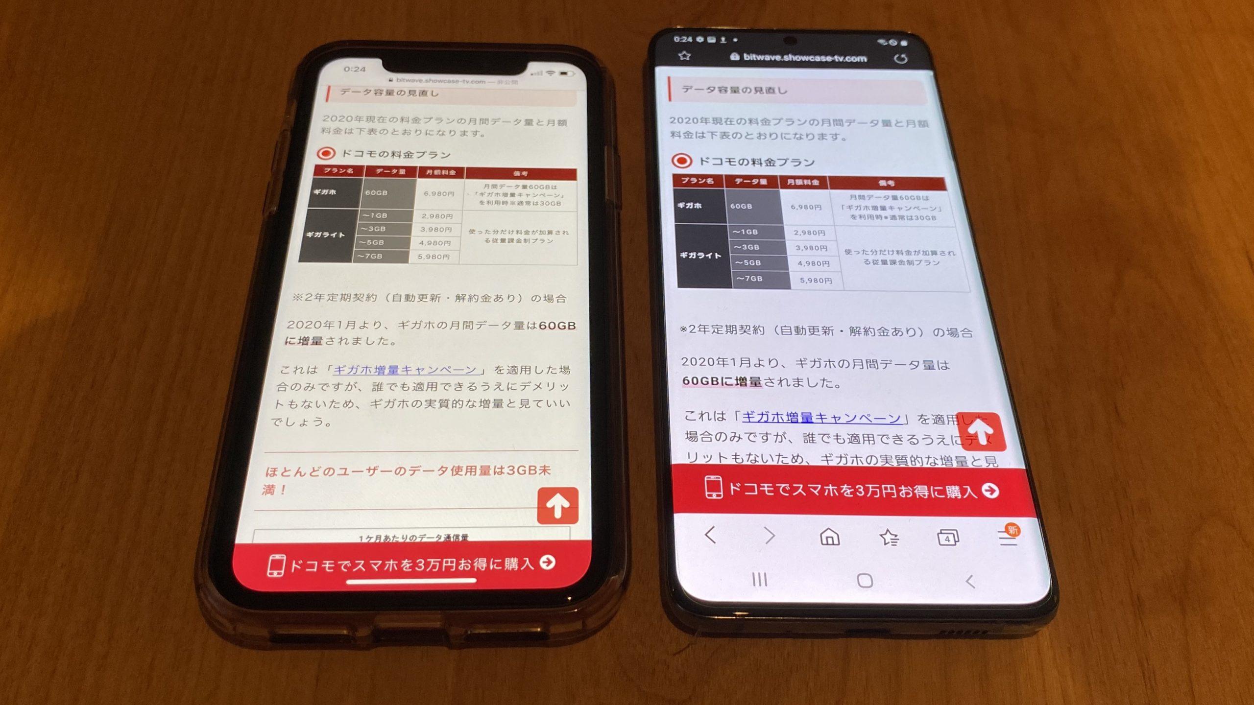 S20+5GとiPhoneXR