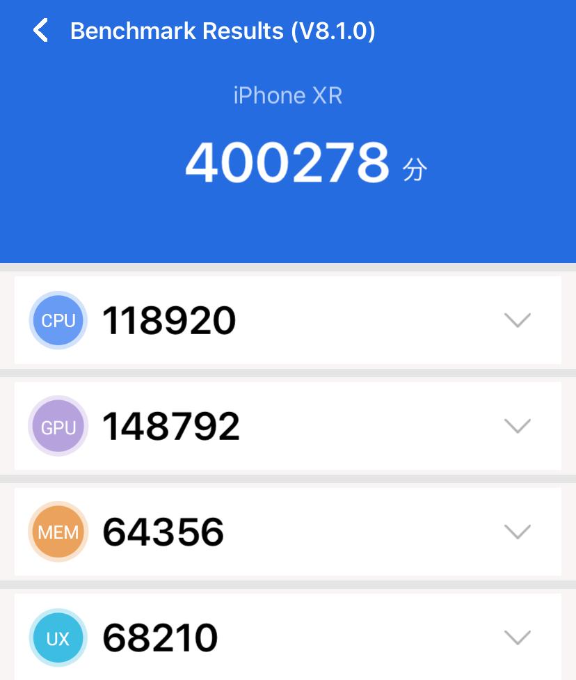 iPhone XRのAnTuTuスコア