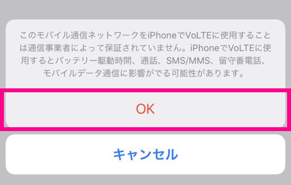 「OK」をタップ