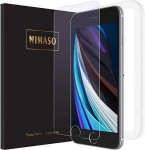 Nimaso iPhone SE 第2世代 (2020) / iPhone8 / iPhone7 用 強化ガラス液晶保護フィルム【ガイド枠付き】