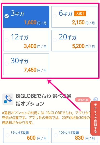 BIGLOBEモバイル購入手続き4