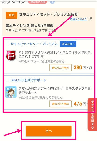 BIGLOBEモバイル購入手続き7