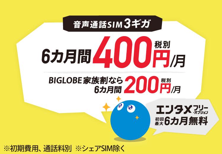 BIGLOBEモバイル 音声通話SIM特典
