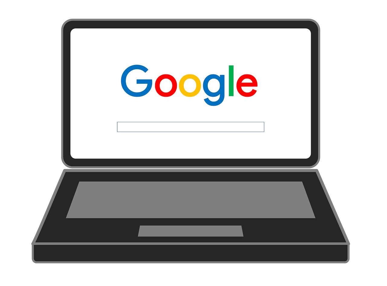 Googleロゴ入りラップトップ