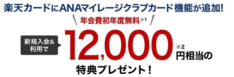 楽天カード12,000ポイントキャンペーン
