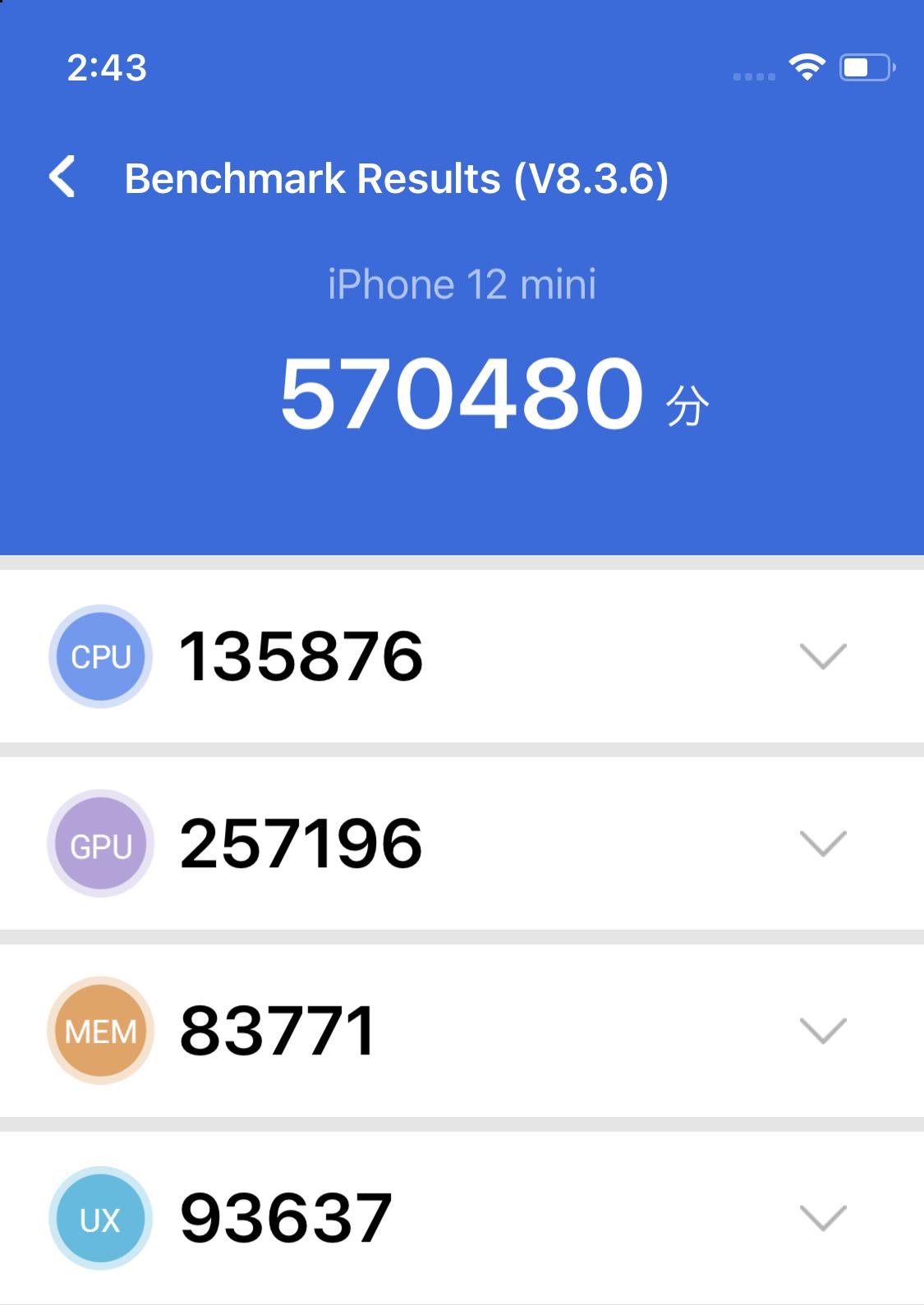 iPhone 12 mini ベンチマーク