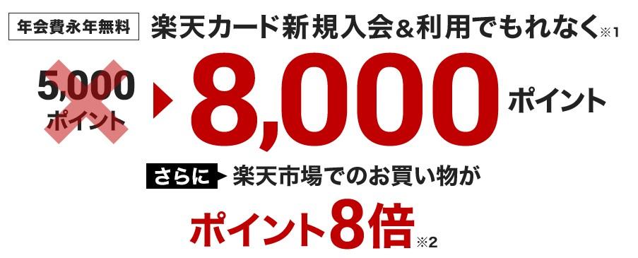 楽天カード8,000ポイントキャンペーン