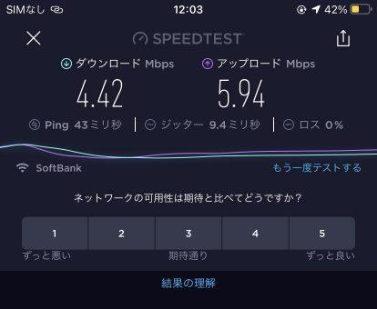 LINEモバイルテザリング速度01