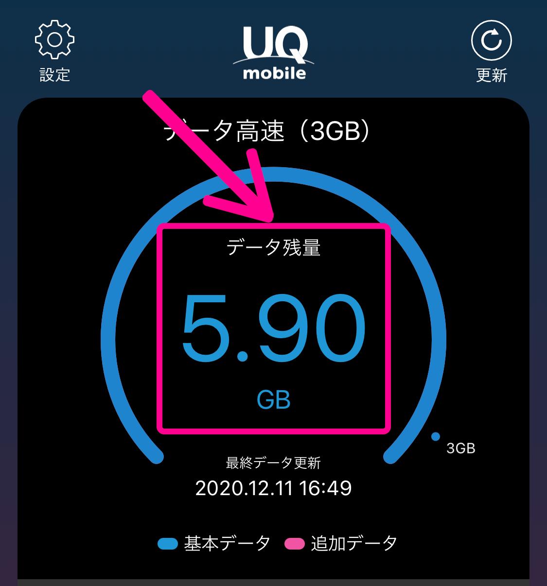 UQモバイルポータルアプリでデータ残量チェック