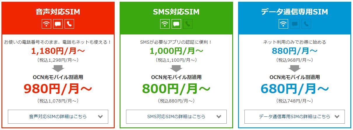 OCNモバイルone SIM