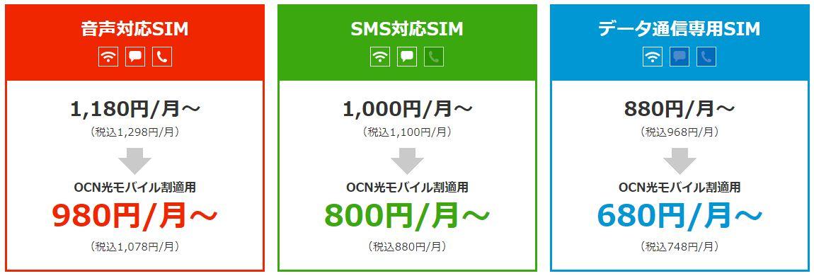 OCNモバイルONEのプラン