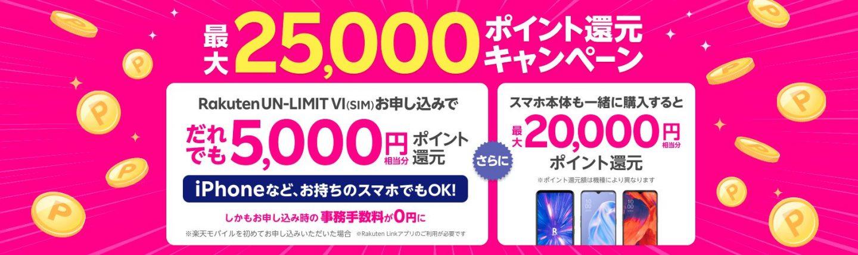 楽天モバイル Rakuten UN-LIMIT VIお申し込みキャンペーン
