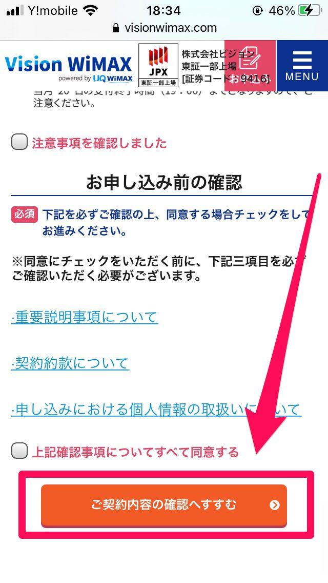 Vision WiMAX申し込み手順3