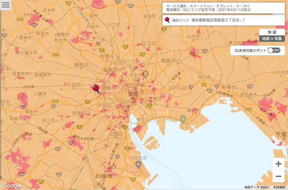 東京周辺のドコモ5Gエリア
