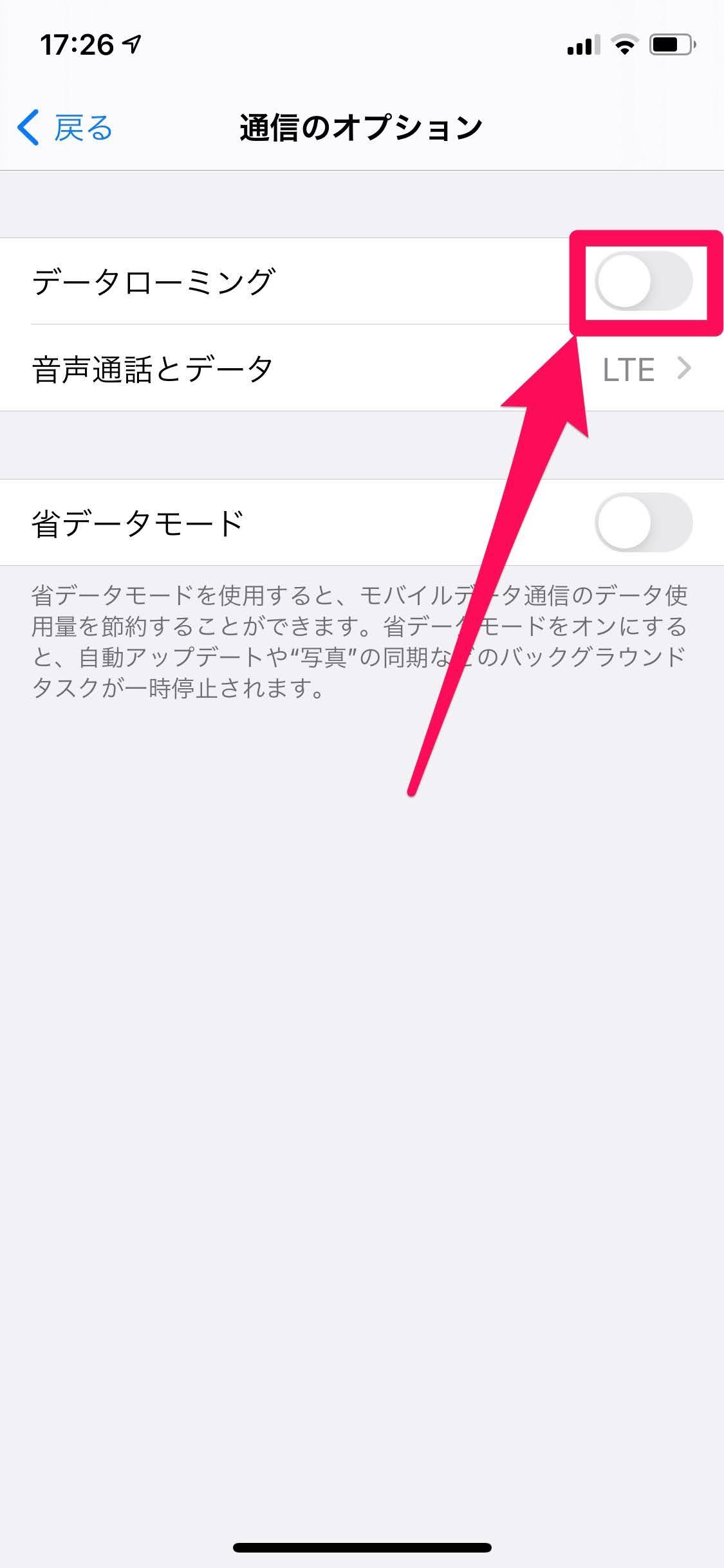 iPhoneデータローミング手順3