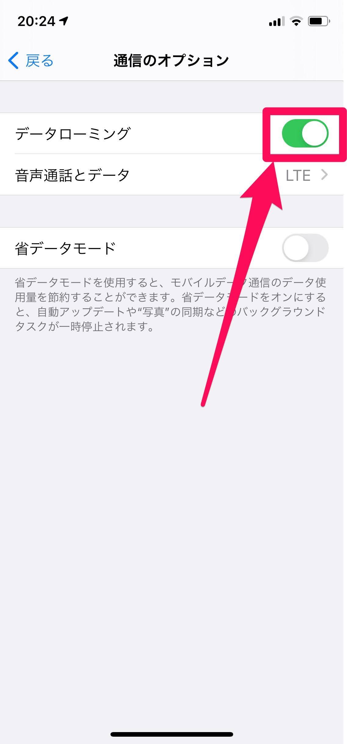 iPhoneデータローミングオフ手順3