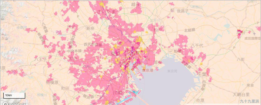 東京付近のソフトバンクエリア