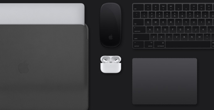 スペースグレイのMacBookアクセサリ