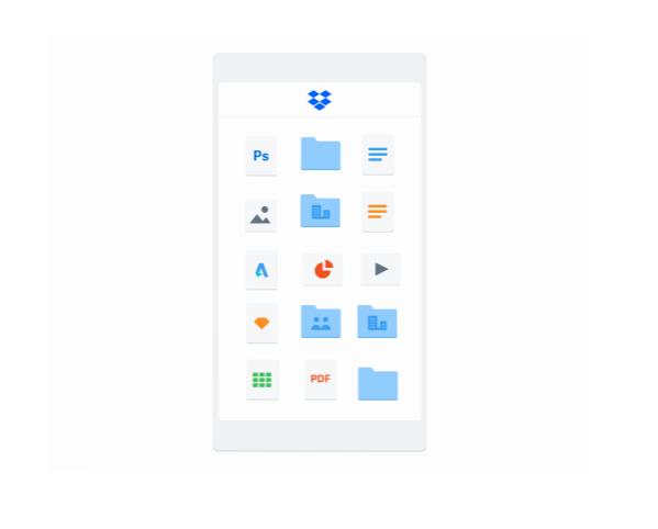Dropboxのロゴとスマホ画面