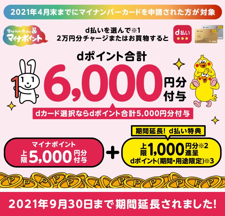 d払い マイナポイント6,000円分付与