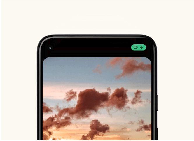 Android 12のマイクとカメラ利用時の表示