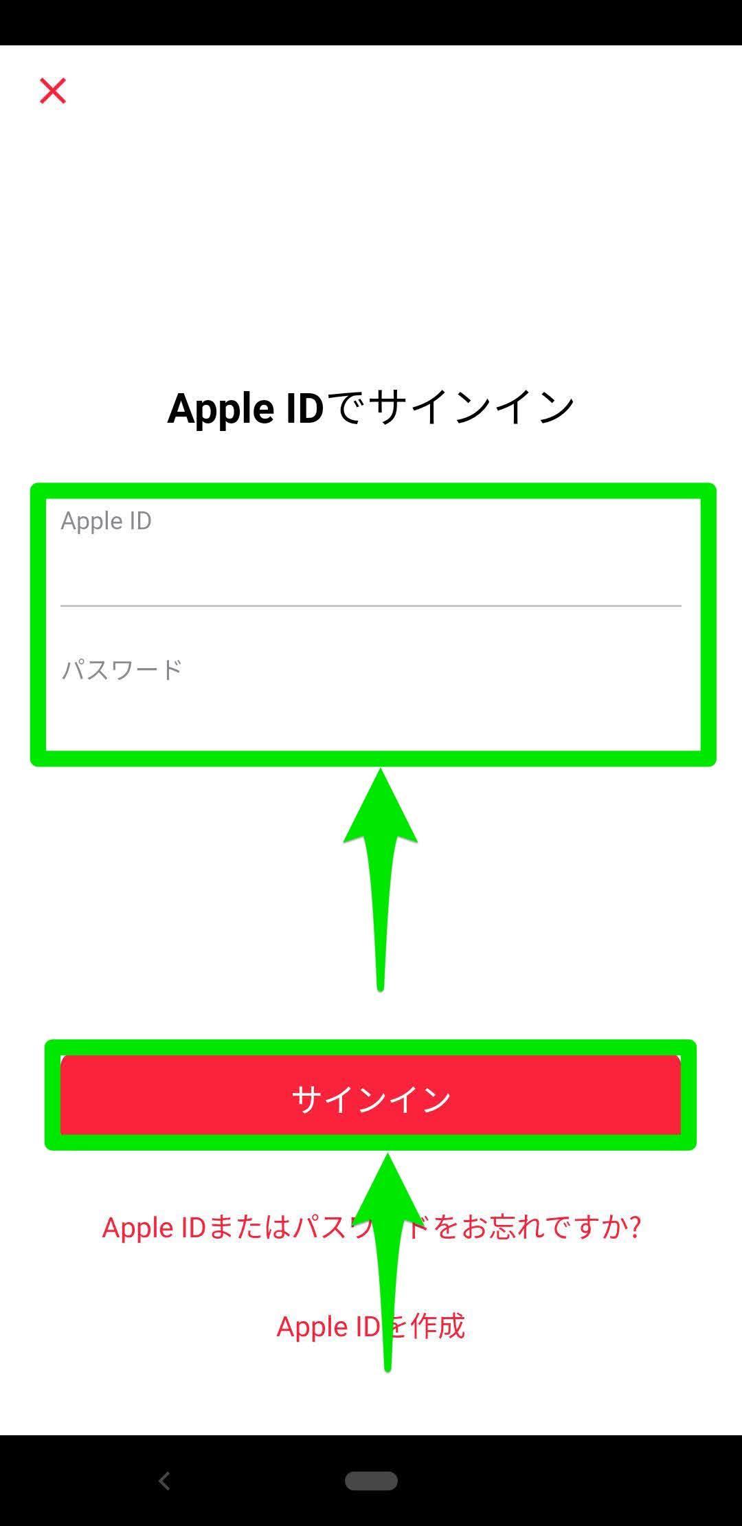 手順④Apple IDでサインインする