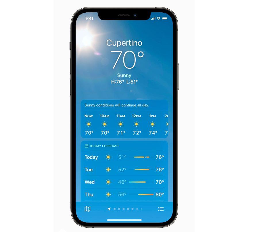 iOS 15の天気アプリ