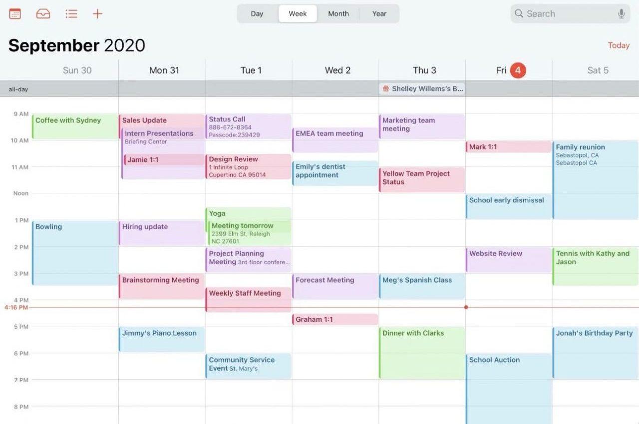 iPhoneのカレンダーを色分け