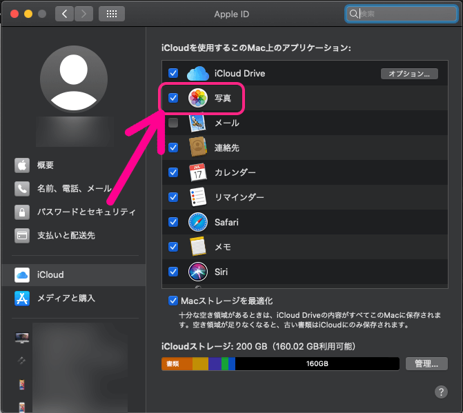 iCloudの「写真」にチェックを入れる
