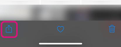 バックアップしたい写真を選び共有ボタンをタップ