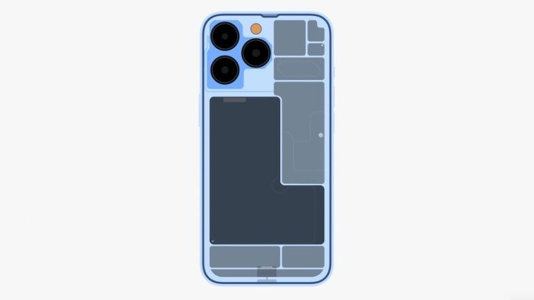 iPhone 13のバッテリー配置