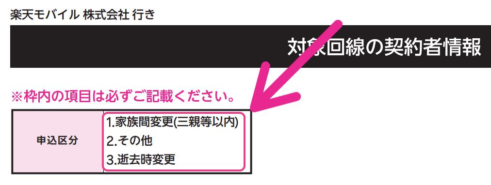 「対象回線の契約者情報」で申し込み区分を選ぶ