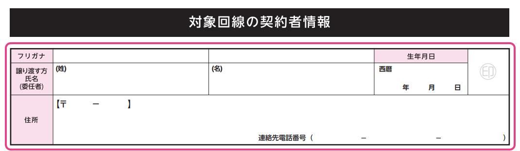 「対象回線の契約者情報」に現契約者の情報を記入