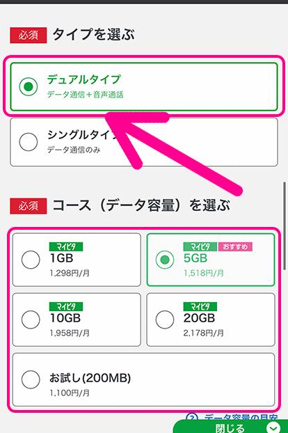 「デュアルタイプ」をタップして必要なデータ量を選ぶ