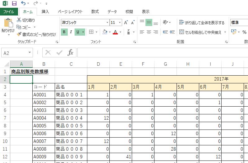 販売数サンプルデータ